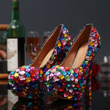 Wedding Crystal Pumps Shoes and Rhinestone Handmade High Heel Wedding Shoes