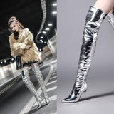 Silver mirror bright leather over the knee boots pointed high-heeled nightclub stage stiletto long tube large size women's boots