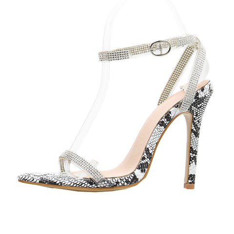 azmodo 2019 Gladiator Crystal Sexy Women Sandals High Heels Buckle Strap Stiletto Party Print Snakeskin grain Women Sandals size 42