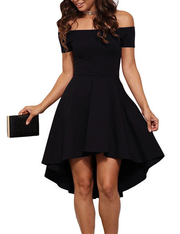 Women Cute Pleated Black Dresses Short Sleeve Front Short Long Back