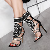Women Strappy High Heels Gladiator Stilettos Peep Toe Embellished Rhinestone Jeweled Sandals