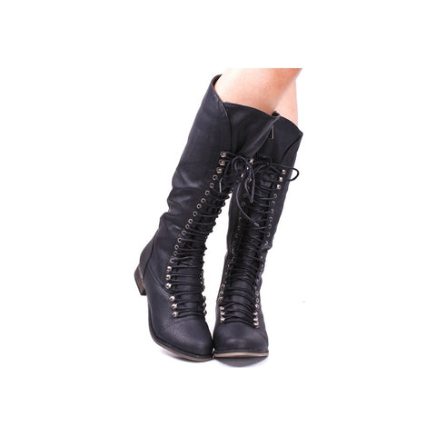 azmodo  Lace-Up Vintage Mid Calf Boots