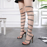 azmodo Crystal Silk Gladiator Sandals Women Snake Knee High Heels Women Sandals Open Toe Sandals Fashion Wedding Party Shoes