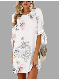 Fashion Sleeve Print Tie Round Neck Dress