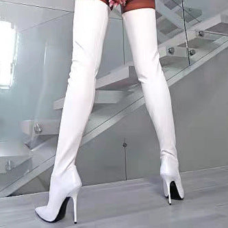 f42f3c9c6f2 Women Sexy Patent Leather Thigh High Boots Heels Fashion Zipper Pointed Toe  Winter Over the Knee Boots
