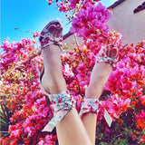 Flower Cross Bandage High Heels Sandals Women Pumps Thin Heel Ruffle Lace-Up Summer Shoes Fashion pompes