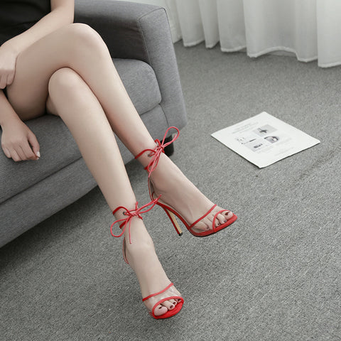 Women Sexy Sandals Heels Sandals Fashion New Women black Zipper Sandals Openwork cross-strap high heel sandals