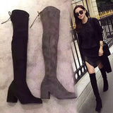 Shoes Woman 2017 Autumn Winter Women Boots Stretch Faux Suede Slim Thigh High Boots Fur Warm Over the Knee Boots High Heels