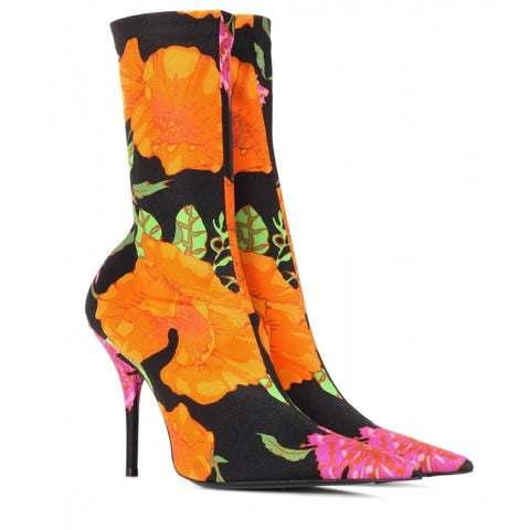 AZMODO Sexy Floral High Stiletto Heels Fall Boots