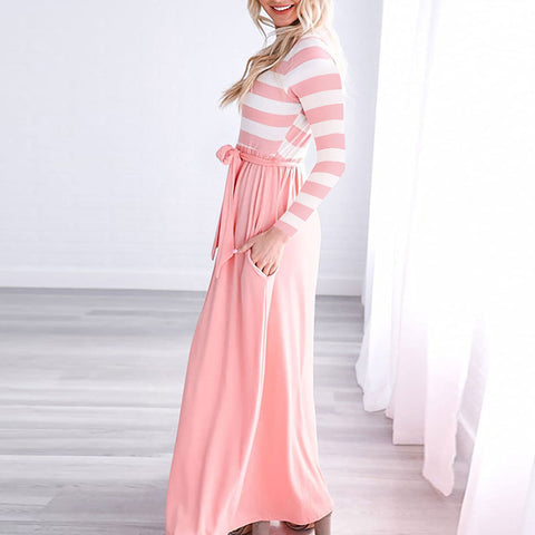 Autumn and winter models women's dress round neck striped stitching dress