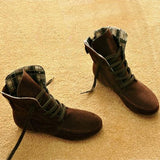 azmodo Comfortable Lace-up Flat Fall Boots
