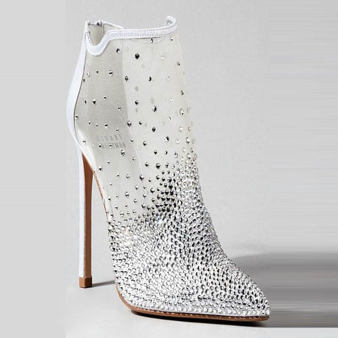 azmodo Rhinestone High Stiletto Heel White Boots