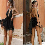 Sequin Backless Bandage Summer Dress Bodycon Women Sexy Nightclub Party Mini Dress Black Bandage Deep V Neck Dresses Vestidos
