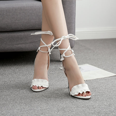 Fashion Lace Cross Lace Up High Heel Sandals