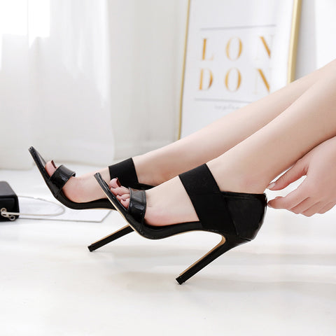 Womens Sandals 11cm Stiletto High Heels Sexy Party Stretch Fabric Ankle Strap Heels Women Summer Shoes Scarpe