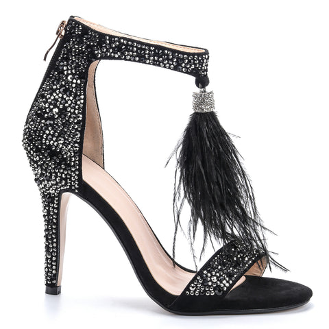 azmodo Women's Wedding Dress Party & Evening Stiletto Heel Pearl Tassel Black Color