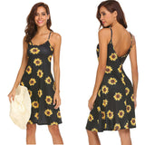 Print Sling Spring Summer Dress Sexy Strap Beach Skirt Women