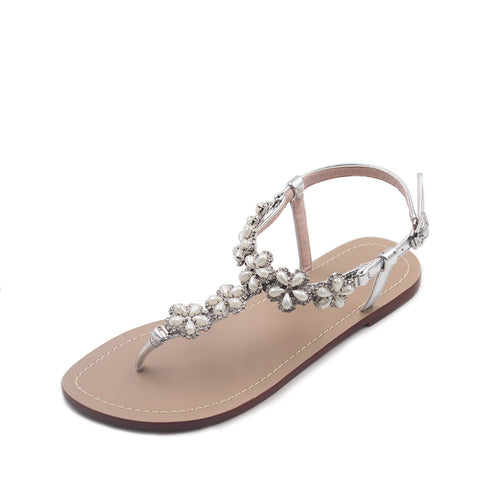 0b494f4664f ... azmodo Women Wedding Flat Sandals with Rhinestones Flip Flop Gladiator  Shoes Silver Color Y13 ...