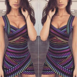 Sexy Sleeveless Spaghetti Straps Printed Bodycon Dress