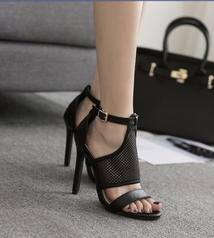 Colorblock Fashion Nets Sexy Roman Style High Heel Sandals