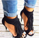 AZMODO Solid Color Tassel Stiletto Sandals