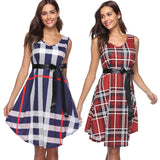 Women's Skirts Sleeveless Plaid Print Dress