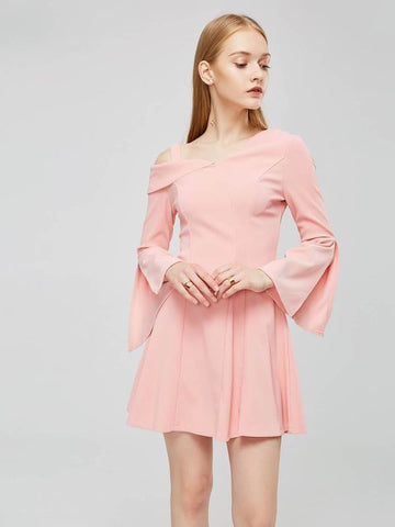 azmodo Pink One Shoulder Women's Day Dress