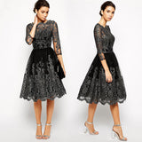 Luxury Lace Dress Women Embroidered Vintage Vestido Sexy Autumn Princess Tutu Dresses Long Sleeve Vestidos Hollow Party Dresses