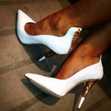 azmodo White Alligator Pattern Zipper Cone Heel Banquet Stiletto Heels