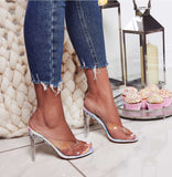 azmodo 2019 New PVC Jelly Champagne Silver Crystal Sexy Slippers Thin Heels Women Transparent Heel Sandals Flip Flops Pumps