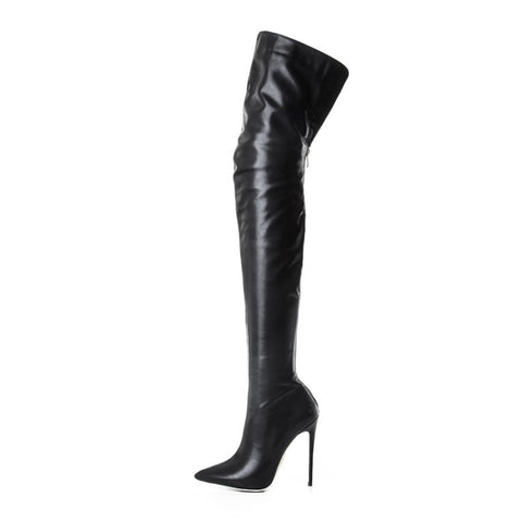 Autumn and winter new pointed high-heeled sexy patent leather stretch fashion boots over the knee boots