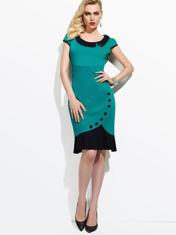 Turndown Collar Women's Sheath Dress