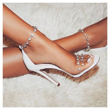 2019 summer rhinestone word with high-heeled sandals transparent plastic shoes