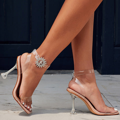 New Summer Stiletto Heels  Open Toes Sandals With Rhinestone Transparent Sandals Female Square Head Crystal Sandals Plus size