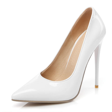 Women Patent Leather Pumps High Heel Pointed Toe Shoes