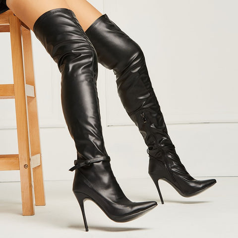 azmodo Sexy Black Pointed Toe Over the Knee Stiletto Boots