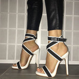 Factory price sexy women's shoes cross strap woven belt stiletto high heels women pumps wedding woman sandals patchwork shoes