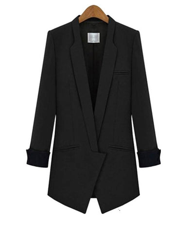 Slim Fit Contrast Color Mid-Length Women's Blazer
