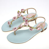 Blue Flower Leaves Rhinestone Flip-Flop Flat Heel 4292