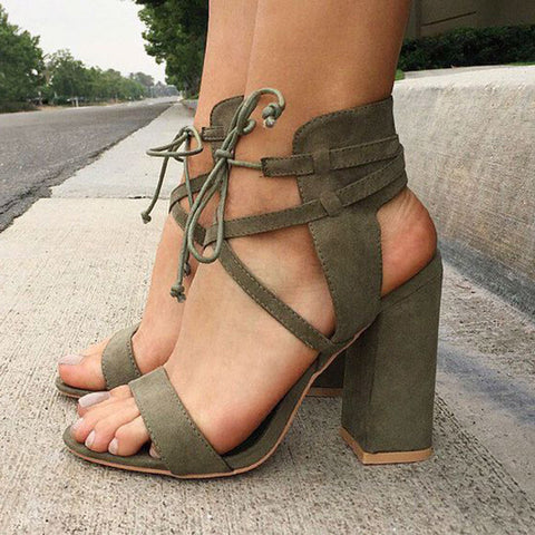 Lace up High Heels Womens Sandals Summer Shoes Woman Ladies Thin Air Heels Woman Shoes