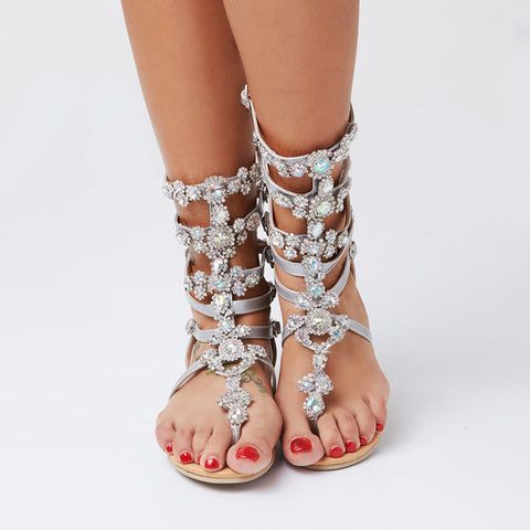 11d68a5ed6f ... AZMODO 2017 Crystal Gladiator Sandals Silver Color Plus Size Available  ...