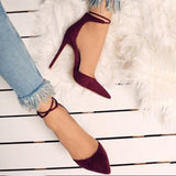 azmodo Strappy Lace Up Pointed Toe Stiletto Heels