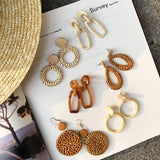 Women Straw Rattan Woven Wooden Earrings Geometric Dangle Ear Stud Jewelry Gift
