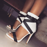 Red Buckle Zipper Stiletto Heel Sandals Ribbon straps color matching hollow high-heeled Roman shoes sandals tricolor