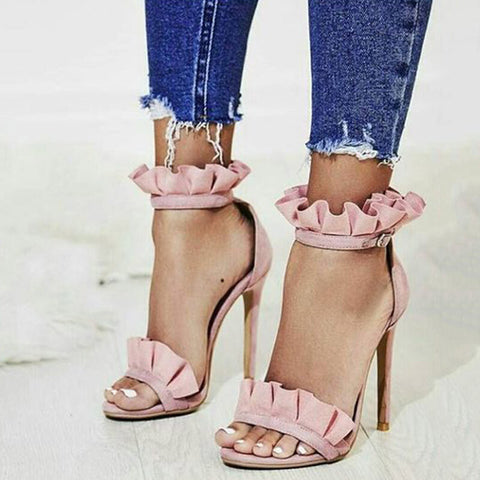 Open Toe Stiletto Heel Pink Sandals