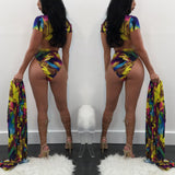 Swimsuit color printed cardigan long-sleeved blouse + short-sleeved split swimsuit female three-piece