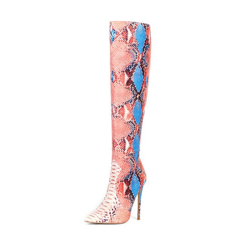 Thigh High Boots Sexy Over the Knee Boots for Women Shoes Snakeskin Pointed Toe Thin High Heels Long Boots Bottine Femme