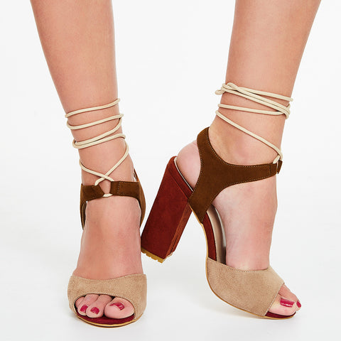 8ee03f9b249 AZMODO Color Block Chunky Heel Sandals Brown Color G87-1 – AZMODO.COM