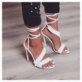 High heels ankle strap white lace women sandals