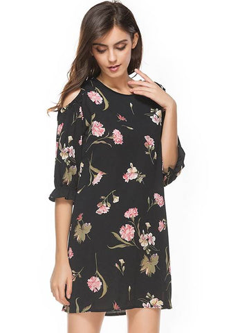 azmodo Floral Black Cold Shoulder Day Dress